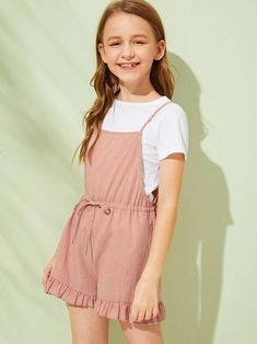 To find out about the Girls Drawstring Waist Ruffle Hem Slip Romper at SHEIN, part of our latest Girls Jumpsuits ready to shop online today! Teenage Girl Outfits, Girls Summer Outfits, Cute Girl Outfits, Girls Fashion Clothes, Tween Fashion, Cute Outfits For Kids, Teen Fashion Outfits, Cute Casual Outfits, Pretty Outfits