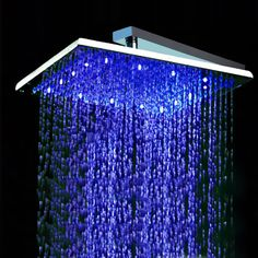 12 inch Stainless Steel Square Temperature Sensor Color Changing LED Water Saving Shower Head
