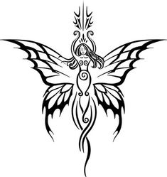 goddess tattoo pattern...so gorgeous! Would look good with some colours in the wings