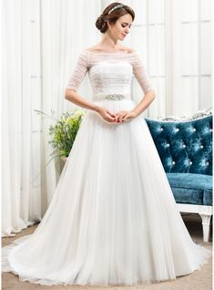 A-Line Princess Off-the-Shoulder Chapel Train Tulle Wedding Dress With 7281c1281e0c