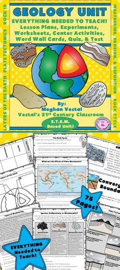 Rocks don't have to be boring! Students will love learning about the layers of the Earth, tectonic plates, types of rocks, the rock cycle, and weathering, erosion, and deposition using this hands-on unit! EVERYTHING you need to teach a science unit on geology can be found in this 2 ½ week, 75-page unit!