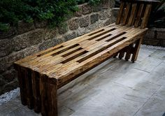 Outdoor bench.  I like the rustic reclaimed lumber texture and color.