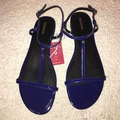 Cobalt Merona sandals Brand new with tags and box Merona (target brand) sandals. Merona Shoes Sandals