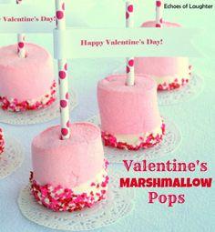 10 Valentine's Day Food and Treats - Valentine's Marshmallow Pops #valentines