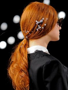 Accessories, Spring 2014 Adornments Hair Trend - New York Fashion Week Spring 2014 Hair Trends - Real Beauty Holiday Hairstyles, Spring Hairstyles, Ponytail Hairstyles, Wedding Hairstyles, Cool Hairstyles, Hairstyle Ideas, Fashion Hairstyles, Hairstyles Haircuts, Diy Holiday Hair Accessories