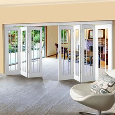 Freefold White Worcester Style Folding 7 Door Set with Clear Glass, Height Width - Lifestyle Image Glass French Doors, French Doors Patio, Patio Doors, Entry Doors, Front Doors, Oak Doors, Sliding Doors, Concertina Doors, Internal Folding Doors