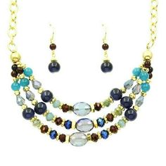 """Blue Beaded Necklace Set Gorgeous beaded necklace set done in hues of blues, 18"""" gold tone chain + extender. Matching pierced hook dangle style earrings 1"""" long. Brand new from our boutique. Jill Marie Boutique Jewelry Necklaces"""