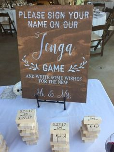 Hochzeit jenga Gästebuch Anmelden Tisch Ideen