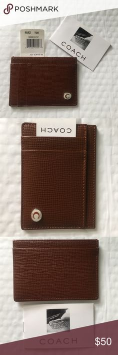 COACH slim leather credit card holder in brown brand new with tags Authentic COACH slim leather credit card holder (unisex) in lighter brown color.  It has 5 compartments for cards, cash, receipts etc. Will come with coach booklet and small card as pictured. Coach Bags Wallets