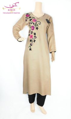 Embroidery On Kurtis, Kurti Embroidery Design, Embroidery Saree, Hand Embroidery Designs, Simple Kurta Designs, Kurti Neck Designs, Dress Neck Designs, Blouse Designs, Hand Painted Dress