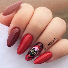 #neess#halloween#paznokciehybrydowe#lakieryhybrydowe#hybryda#nailsneess#manicurehybrydowy#rednails#czerwonepaznokcie#sexyred#longnails#stylizacja#jesiennastylizacja#repost Halloween, Nails, Red, Beauty, Finger Nails, Ongles, Nail, Cosmetology, Spooky Halloween