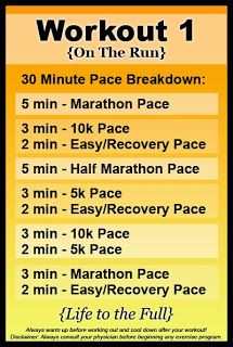 Treadmill Workout 1 - intervals of marathon, half marathon, 10k, 5k and recovery pace.