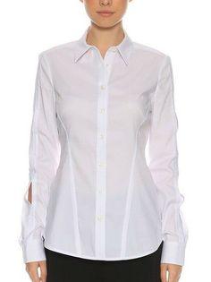 Karen Millen Ivory Crepe Draped Formal Shirt Office Blouse Collared Top 8 /& 10