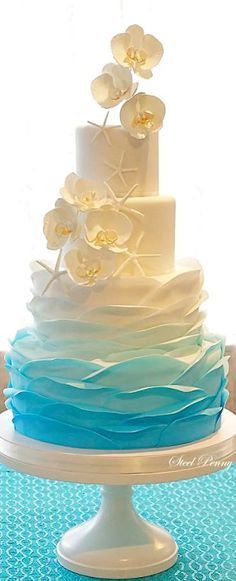 Ombre Ruffles, Starfish and Orchids Cake