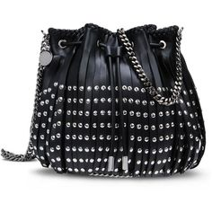 f48e9a1084 Stella McCartney Black Falabella Studded Fringed Bucket Bag found on  Polyvore featuring bags