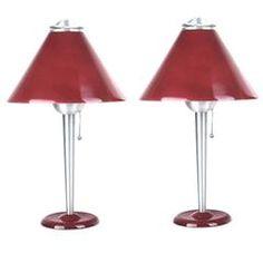 Pair of Large Art Deco Machine Age Table Lamps Modernist Design 1930s