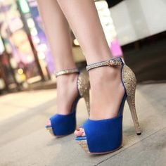 Blue Peep toe Ankle Strap Sandals