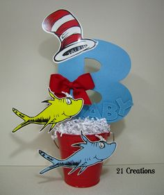 Dr. Seuss Centerpiece instead have the first initial of birthday boy or girl