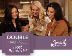 January is Double Half-price Host Rewards at Scentsy!!  Hosts will receive Double Half-Price Host Rewards just for throwing a qualifying #Scentsy party during the month of January!   If you host a party of 150(U.S.)/200 (CA) or more, you'll receive twice the half-priced items!