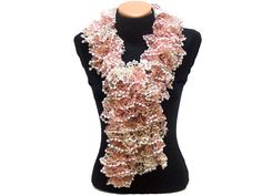 Hand knitted CamelPinkWhite ruffled scarf by Arzus on Etsy, $19.90