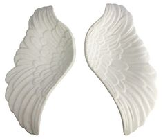 Pair of Ceramic Wing Dishes, White   By the Books   One Kings Lane