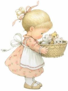 Little Girl & Her Kittens ¦¦ Ruth Morehead Graphics Cute Little Girls, Cute Kids, Cute Images, Cute Pictures, Beautiful Pictures, Sarah Kay, Picture Postcards, Holly Hobbie, Cute Illustration