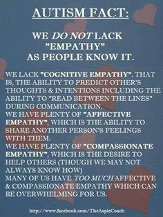 This is such a great explanation, because the lack of empathy Aspies have is completely different than the standard definition.