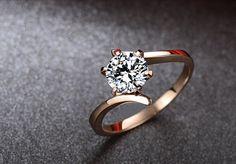 Ronda de Moissanite anillo de compromiso, anillo de diamante rosa, anillo de compromiso