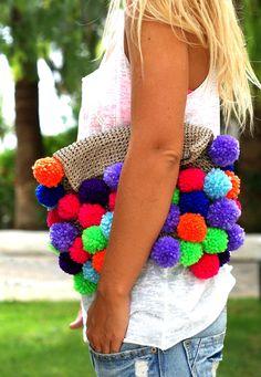 Foldover Crochet Clutch in Hot Neons.. $48.90, via Etsy.