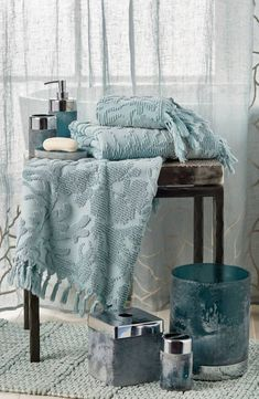Designed from luxurious Turkish cotton with a knotted fringe along the hem, this towel with a sculpted reef design is a great bathroom accent piece. Decor, Interior, Tissue Box Covers, Michael Aram, Home Decor, Curtains, Covered Boxes, Indoor Decor, Room Inspo
