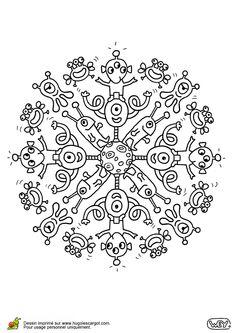 Illustration d'un mandala rond constitué par des extra-terrestres, à colorier