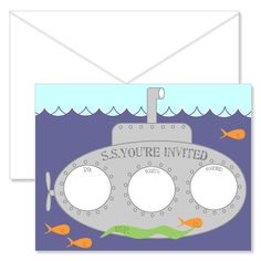 Little Submarine Invites by BushelandPeckPaper on Etsy