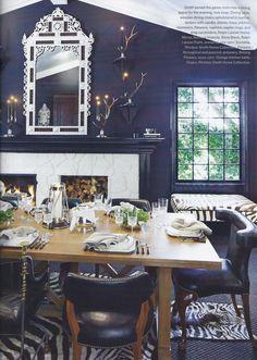 A Divine Dining Room. Navy blue walls. Interior Designer: Windsor Smith.