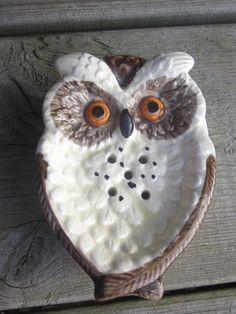 Vintage Ceramic Owl Ashtray by finefoxvintage on Etsy, $10.00