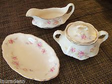 Vintage Homer Laughlin Creamer w/Oval Dish, and Covered Sugar -Virginia Rose