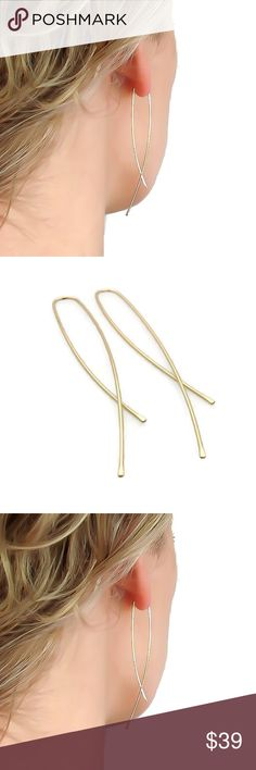 "14K/925 Inverted Hoop Earrings LONG 3"" Super long and super trendy, these earrings are available in either solid .925 Sterling silver, 14K yellow or Rose Gold Filled. They are very long and measure three inches in length. Also known as upside down or inverted hoop earrings. nejd Jewelry Earrings"