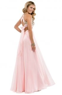 Sweetheart Halter Neck Pink Chiffon Prom Dress with Open Back  #fashion #clothing #partydress