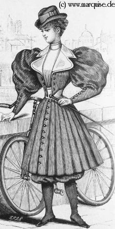 vintage French fashion, Victorian bicycle outfit, antique ladies clothing, black and white clip art, Victorian lady clipart Victorian Era Dresses, Edwardian Era, Victorian Fashion, 1890s Fashion, Victorian Ladies, Cycling Suit, Cycling Gear, Cycling Jerseys, Cycling Equipment