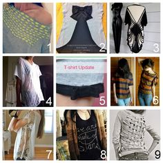 Roundup of Nine Easy DIY Tee Shirt Restyle Tutorials Part Two (by request):  DIY Woven Tee Shirt Restyle (Trash to Couture) here.  DIYRed Valentino Bow Back Cotton Jersey T-Shirt (inspiration & realisation) here.  DIY No Sew Bathing Suit Cover Up. Made from a T Shirt (Wobisobi) here.  DIY Shredded Tee (Childhood Flames) here.  DIY Kate Spade Tee Shirt Restyle (make it & fake it) here.  DIY No Sew T-Shirt Refashion (Fine & Feathered) here.  DIY Tee Shirt Restyle Using Crochet Trim on the