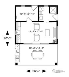 House plan W1911 detail from DrummondHousePlans.com Tiny House Plans, Pool House Plans, Small Pool Houses, Small Pools, Tiny Houses, Pool House Designs, Small House Design, Outdoor Landscaping, Outdoor Sheds