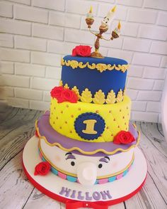 I adored making this little beauty, a three tier beauty and the beast first birthday cake, loving it