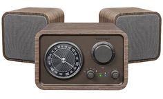 The Trio Bluetooth Speaker System from Crosley is a retro-inspired AM/FM radio with Bluetooth technology for your MP3 player or phone. Made from handcrafted hardwoods and veneers with a hand rubbed walnut finish. Great vintage looking radio with modern technology!