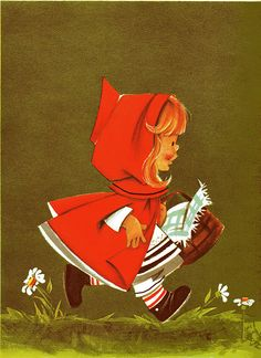 Little Red Riding Hood, 1963 vintage illustration Little Red Ridding Hood, Red Riding Hood, Charles Perrault, Wolf, Fairytale Art, Red Hood, Book Cover Design, Vintage Art, Vintage Books