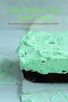 Mint Chocolate Chip Brownie Ice Cream Cake & Happy Birthday Jen of Juanita's Cocina #IceCreamWeek #Giveaway