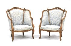 Pair of French antique walnut bergère chairs