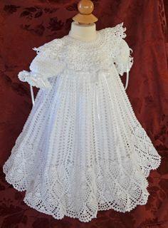 Spectacular hand crafted christening/baptism gown. http://cherryhillcrochet.com