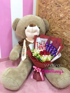 Order or enquiry's please Whatsapp us No : We provide delivery for Penang Kedah Kl Selangor (Selected Area) Flower Bouquet Diy, Gift Bouquet, Diy Flowers, Ferrero Rocher Bouquet, Big Teddy Bear, Chocolate Bouquet, Candy Boxes, Present Gift, Dinosaur Stuffed Animal