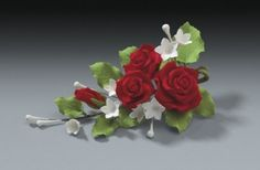 Red Rose Gum Paste Flowers Set of 1 Spray for Weddings and Cake Decorating