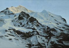 'Jungfrau' by Moritz Baumann Acrylic on Board: 48 x 68 cm Signed French Art, Mount Everest, Most Beautiful, Earth, Fine Art, Contemporary, Mountains, World, Antiques