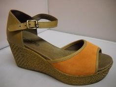 1 (A) Alcaide Denise - W - Alcaide from Portugal.  Suede sandal with covered heel and woven 7cm wedge heel.  Available in Jade and Orange Combo.  price 199 NZ $ Suede Sandals, Summer Shoes, Wedge Heels, Jade, Portugal, Spring Summer, Wedges, Orange, Fashion
